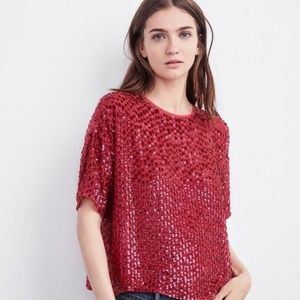 Anthropologie • Embellish Pink Sequin Crop Top XS